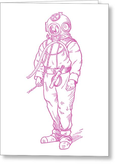 Greeting Card featuring the digital art Vintage Diver by Edward Fielding