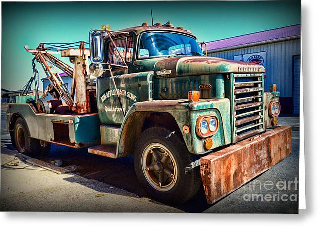 Vintage Dodge Tow Truck Greeting Card by Paul Ward