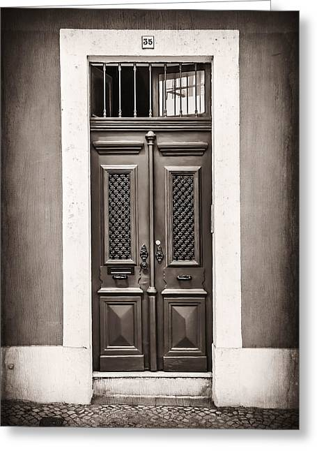 Vintage Door In Lisbon Greeting Card by Carol Japp