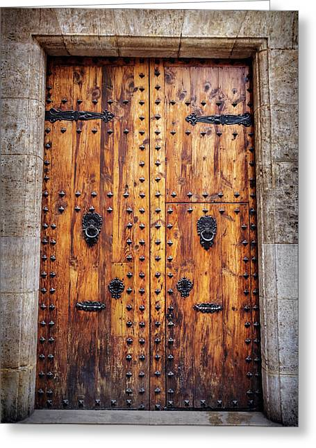 Vintage Door In Valencia Spain  Greeting Card