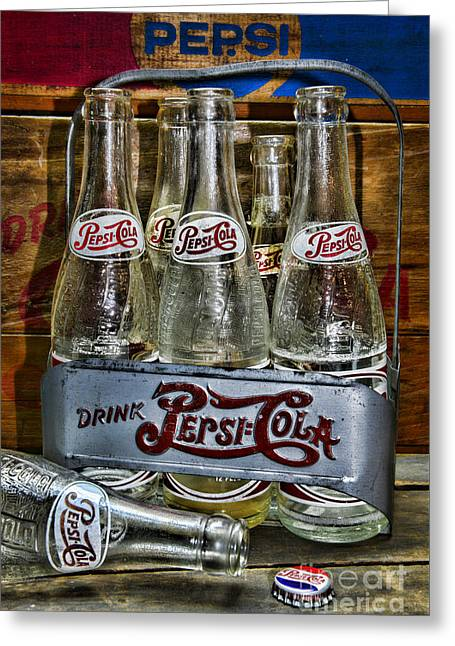 Vintage Double Dot Metal Pepsi Carrier. Greeting Card by Paul Ward