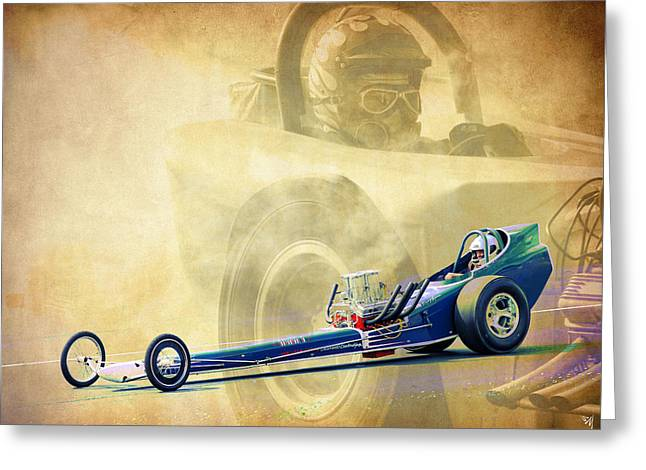 Vintage Dragster Greeting Card by Steve McKinzie