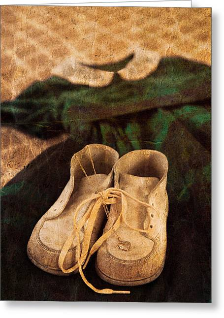 Vintage Dress And Baby Shoes Greeting Card