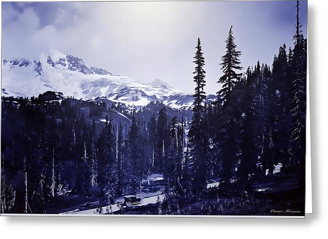 Vintage... Driving Up To Mount Rainier Early 1900 Era... Greeting Card