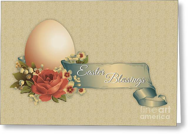 Greeting Card featuring the digital art Vintage Easter by JH Designs