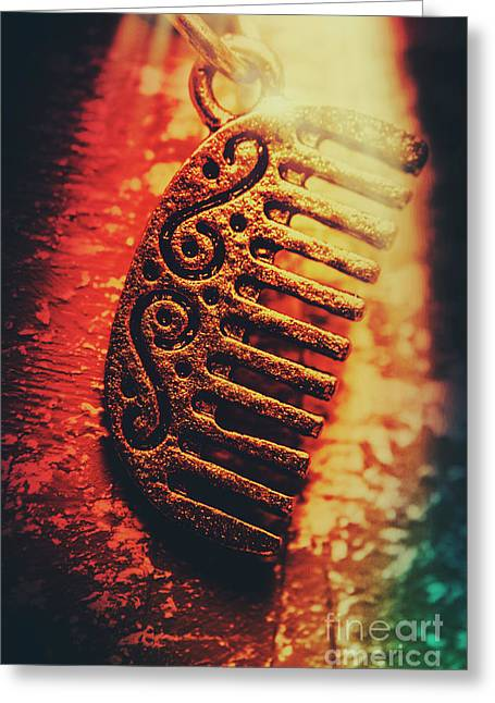 Vintage Egyptian Gold Comb Greeting Card