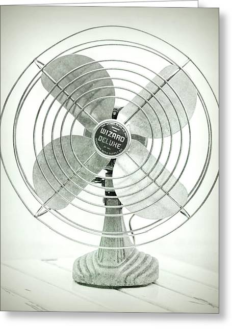 Vintage Electric Fan Black And White Greeting Card by Terry DeLuco