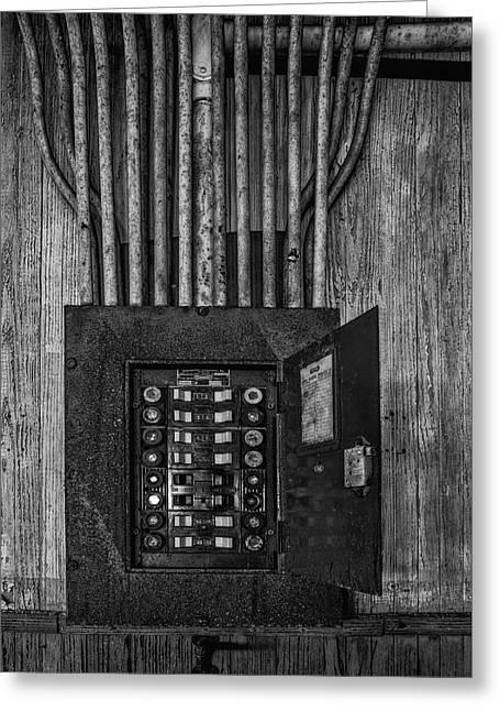 Vintage Electric Panel Bw Greeting Card