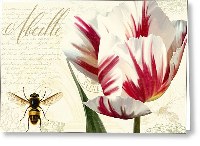 Vintage Elements Botanical Study, Tulip Bumble Bee Greeting Card by Tina Lavoie