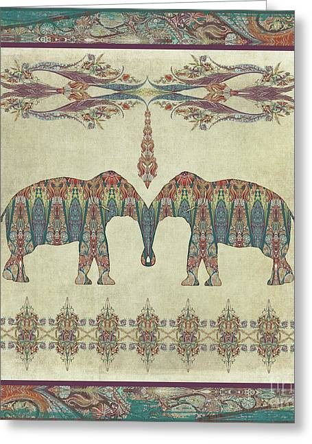 Greeting Card featuring the painting Vintage Elephants Kashmir Paisley Shawl Pattern Artwork by Audrey Jeanne Roberts