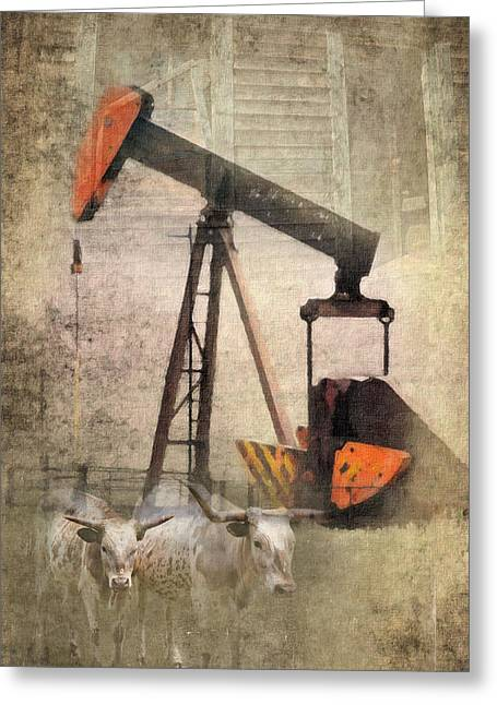 Cattle Photographs Greeting Cards - Vintage Enterprise Greeting Card by Betty LaRue