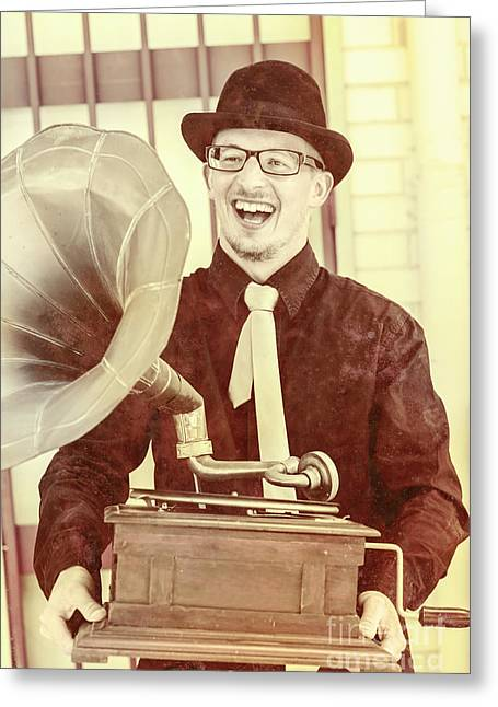 Vintage Entertainment Man Playing Golden Oldies Greeting Card