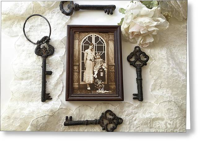 Vintage Era Sepia 1920's Family Heirloom Mother Daughter Print-vintage Antique Black Keys Flatlay Greeting Card by Kathy Fornal