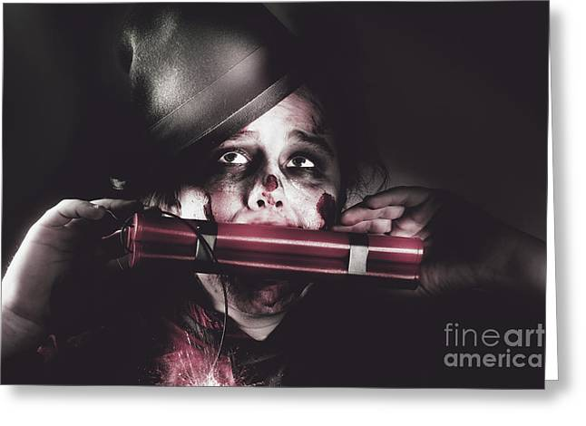 Vintage Evil Dead Terrorist With Explosives Greeting Card by Jorgo Photography - Wall Art Gallery