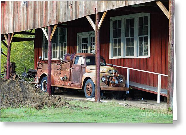 Vintage F5 Fire Truck - Tanker Truck Greeting Card by Liane Wright
