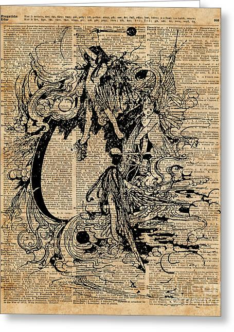 Vintage Fairies Magic Illustration Antique Ink Artwork Dictionary Book Page Art  Greeting Card by Jacob Kuch