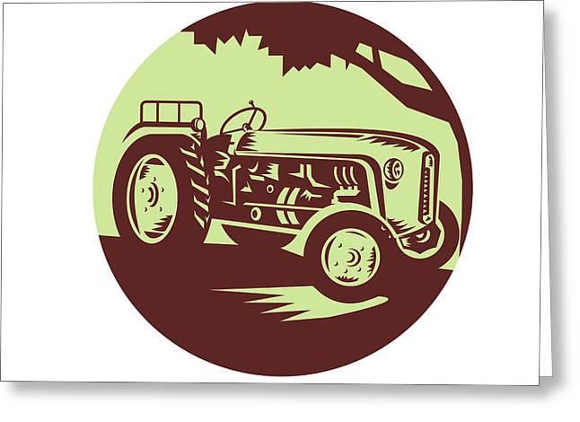 Vintage Farm Tractor Circle Woodcut Greeting Card by Aloysius Patrimonio