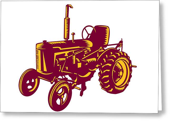 Vintage Farm Tractor Woodcut Greeting Card