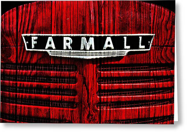 Vintage Farmall Red Tractor With Wood Grain Greeting Card