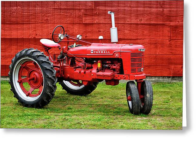 Vintage Farmall Tractor With Barnwood Greeting Card