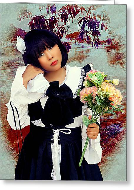 Vintage Fashion And Flowers Greeting Card