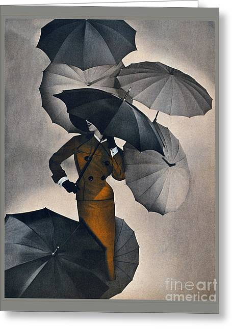 Vintage Fashion Illustration - Goldenrod Suit Greeting Card