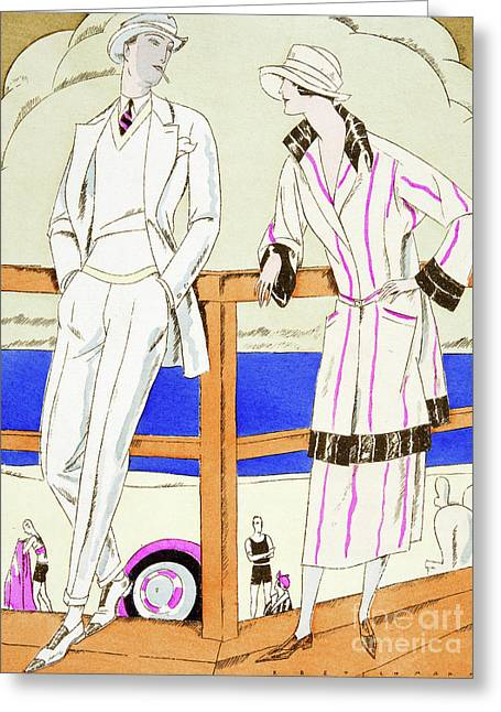 Vintage Fashion Plate From The Twenties Depicting Couple At The Beach Greeting Card
