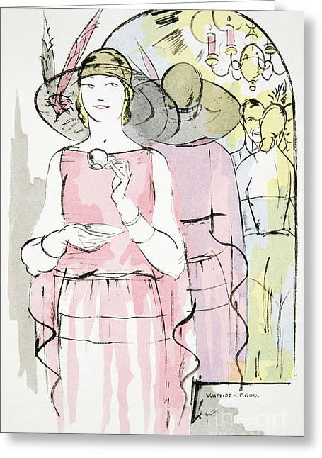 Vintage Fashion Plate   Twenties Tea Dress Greeting Card