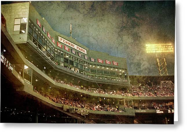 Vintage Fenway Park At Night Greeting Card