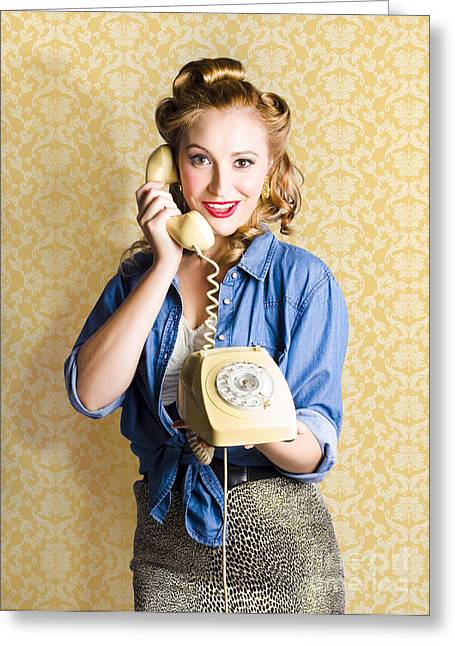 Vintage Fifties Telephone Operator Holding Phone Greeting Card