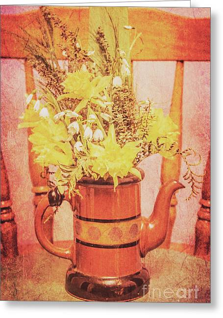 Vintage Fine Art Still Life With Daffodils Greeting Card