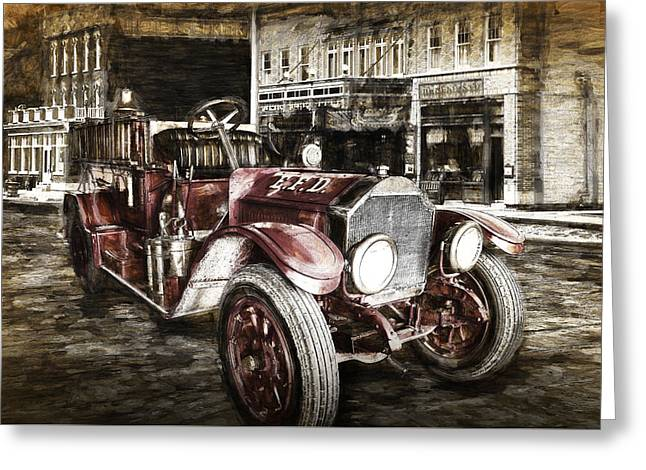 Vintage Fire Truck Engine Greeting Card by Randall Nyhof
