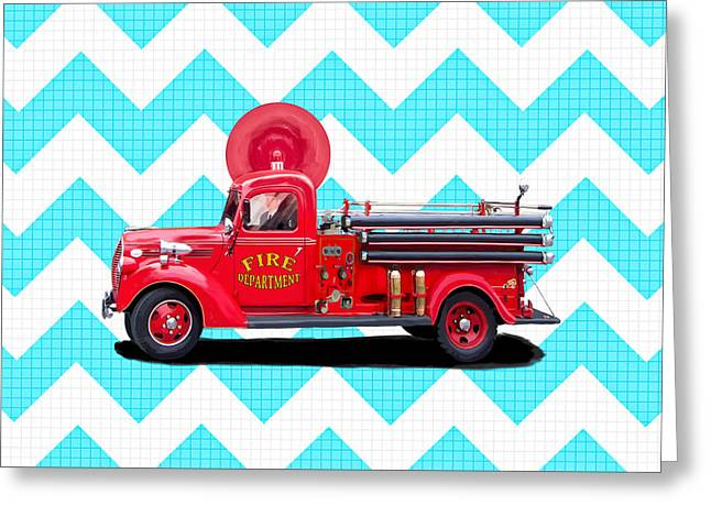 Vintage Fire Truck Greeting Card by Mark Tisdale