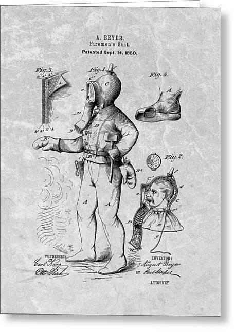 Vintage Fireman Patent Greeting Card
