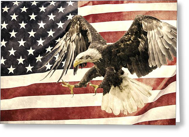 Greeting Card featuring the photograph Vintage Flag With Eagle by Scott Carruthers