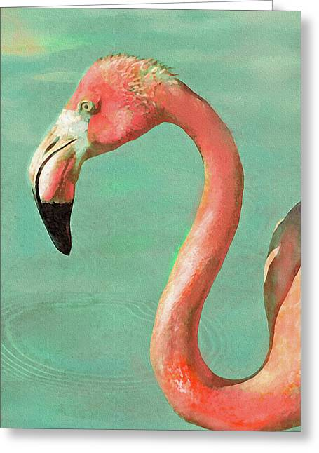 Greeting Card featuring the digital art Vintage Flamingo by Jane Schnetlage