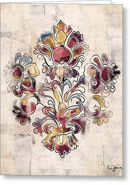 Greeting Card featuring the mixed media Vintage Fleur by Carrie Joy Byrnes