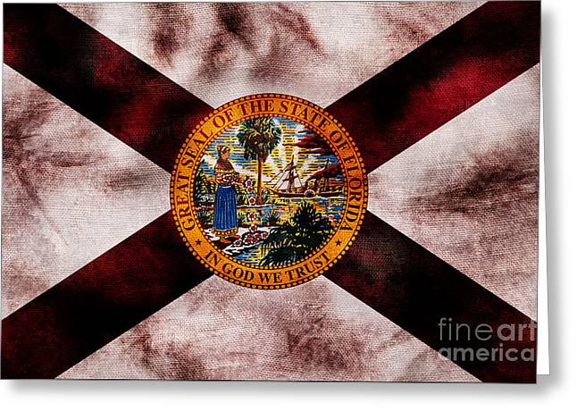 Vintage Florida Flag Greeting Card by Jon Neidert