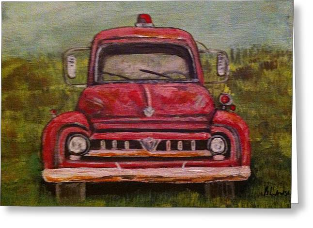 Vintage  Ford Fire Truck Greeting Card