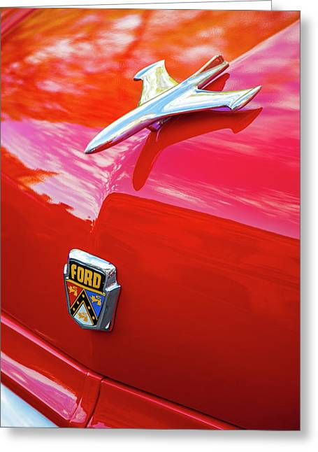 Greeting Card featuring the photograph Vintage Ford Hood Ornament Havana Cuba by Charles Harden