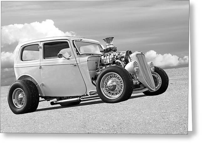 Vintage Ford Hot Rod In Black And White Greeting Card
