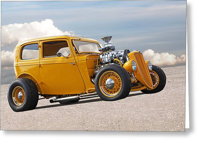 Vintage Ford Hot Rod In Yellow Greeting Card