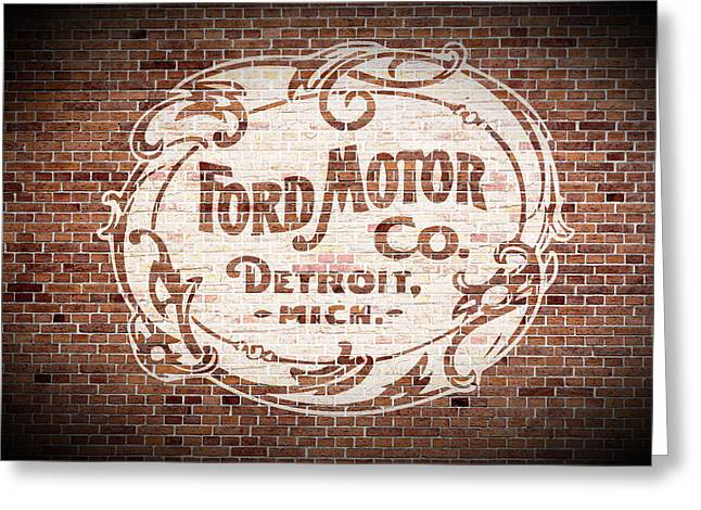 Vintage Ford Logo Painted On Old Brick Wall In Detroit Michigan Greeting Card by Design Turnpike
