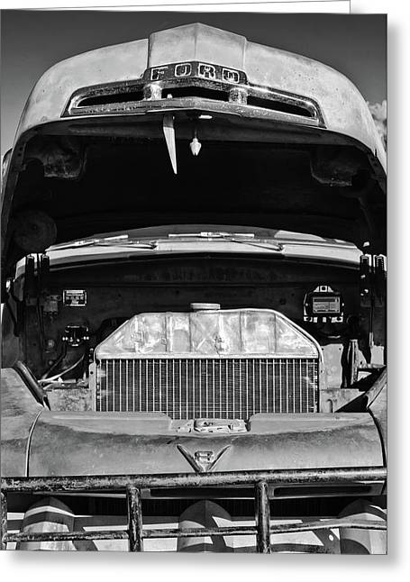Vintage Ford Pickup Truck -0024bw Greeting Card by Jill Reger