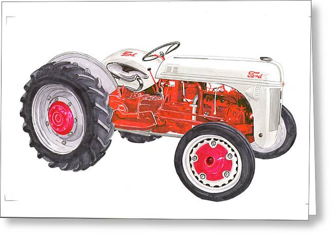 Greeting Card featuring the painting Vintage Ford Tractor 1941 by Jack Pumphrey