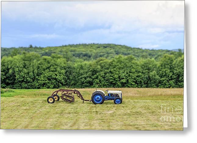Vintage Ford Tractor Tilt Shift Greeting Card by Edward Fielding