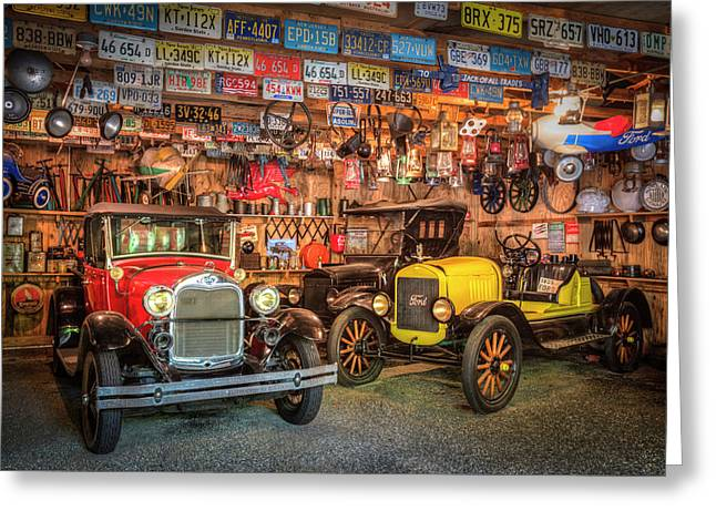 Vintage Fords Collectibles Greeting Card by Debra and Dave Vanderlaan