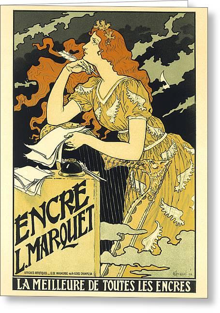Vintage French Advertising Art Nouveau Encre L'marquet Greeting Card