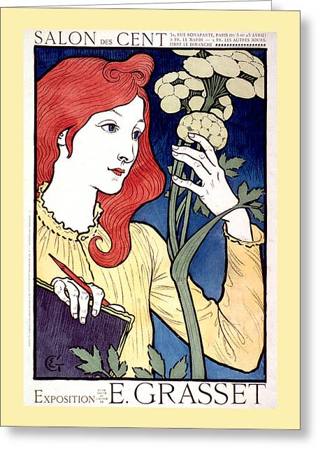 Vintage French Advertising Art Nouveau Salon Des Cent Greeting Card