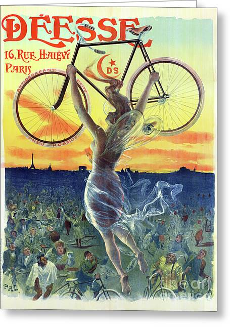 Vintage French Bicycle Poster Greeting Card by Jon Neidert